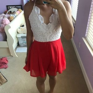 Pants - Red and white lace romper with cross back